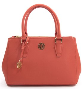 DKNY Donna Karan Bryant Park Saffiano Leather Double Zip Work Satchel in Red