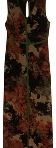 Floral with bright green trim Maxi Dress by Neiman Marcus