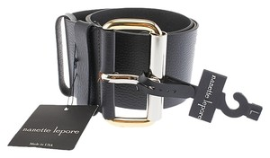 Nanette Lepore Nanette Lepore Women's Black Leather Belt, Size L (3663)