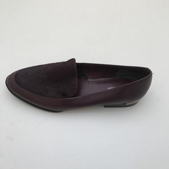 Calvin Klein Fur Loafers Leather Burgundy Flats Image 1
