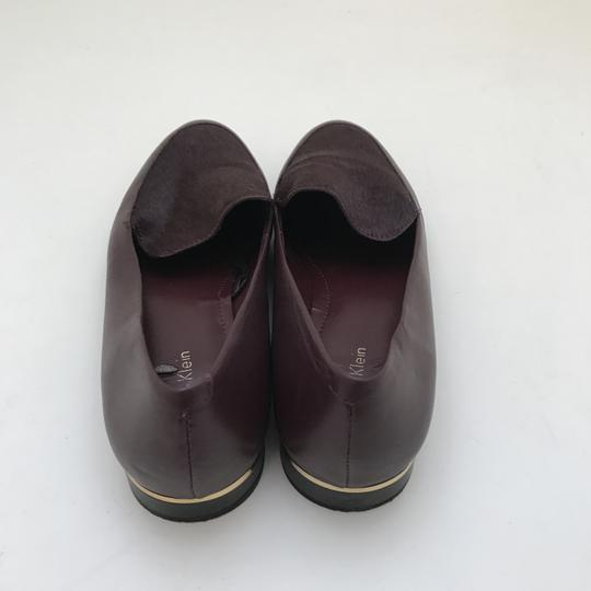Calvin Klein Fur Loafers Leather Burgundy Flats Image 4