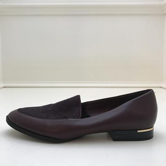 Calvin Klein Fur Loafers Leather Burgundy Flats Image 5