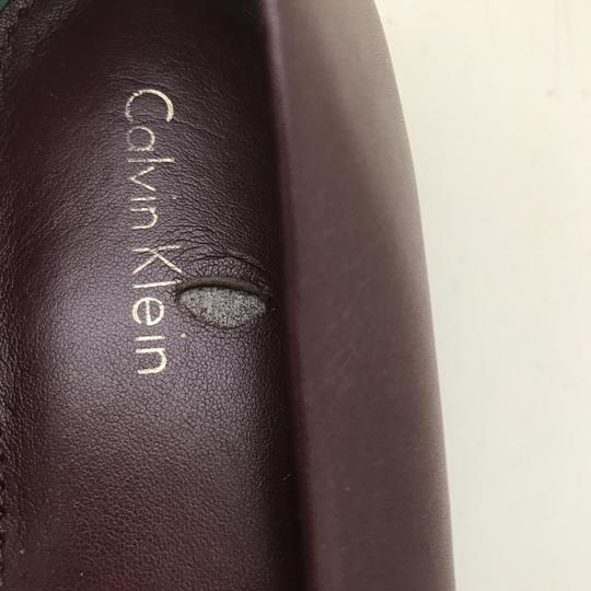 Calvin Klein Fur Loafers Leather Burgundy Flats Image 7