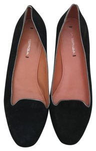 Via Spiga Suede Loafers Silver Trim Black Flats