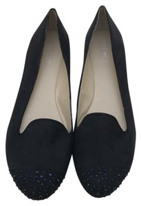 Nine West Loafers Leather Spikes Black Flats