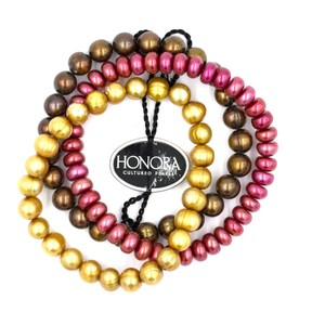 Honora Honora Cultured Pearl Stretch Bracelets Cherry Brown & Gold