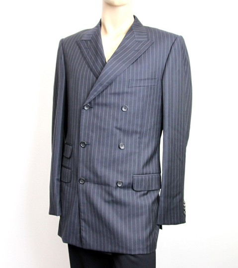 Gucci Navy/Stripe New Men's Blazer Coat Jacket Eu 52l Us 42l 077613 Groomsman Gift Image 1