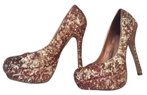 Bakers Sequin Holiday Party Heels Rose Gold Pumps