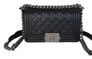 Chanel Boy Small Caviar Ruthenium Hardware Shoulder Bag