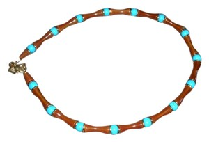 Robert Lee Morris multi color (amber and turquoise) stones stations necklace