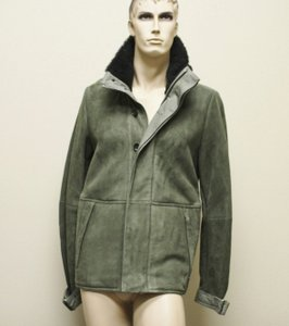 Gucci $4500 New Authentic Men's Suede Leather Coat Jacket Green Eu 52 Us 42