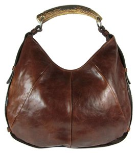 Saint Laurent Brown Leather Horn Silver Hobo Shoulder Bag