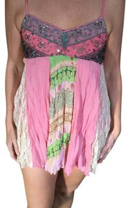 Anthropologie Top Pink/ multi colored