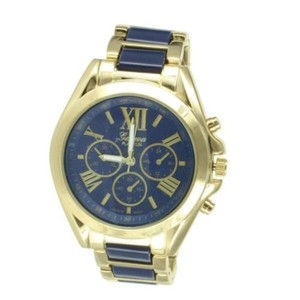 Geneva Platinum Navy Blue Dial Watch Gold Tone Geneva Mens Womens
