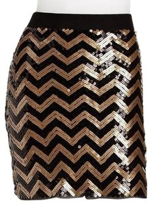 Michael Kors Sequin Sparkle Chanel Gucci Mini Skirt Black/gold