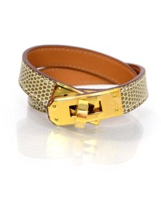 Herms Hermes Kelly Tan Lizard and GHW Double Tour Bracelet Sz S