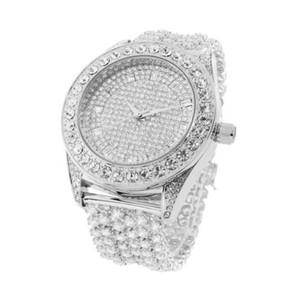 Iced Out Watch Hip Hop Mens Stainless Steel Back Custom 50mm