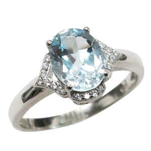 9.2.5 Art Deco style aquamarine cocktail ring size 7