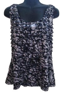 Chico's Ruffled Abstract Knit Casual Top Black & White
