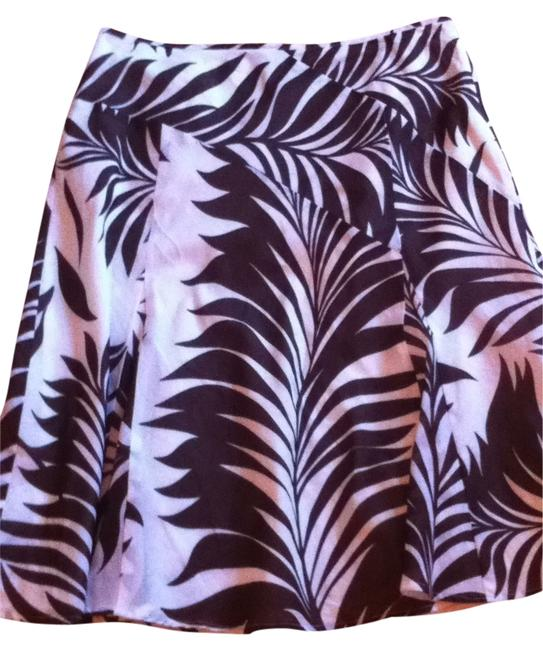 Ann Taylor Cotton Summer Knee Length Modest Office Dressy Dress Side Zip Lined Ethnic Jungle Palm Branches Palm Palms Ferns Skirt white and brown