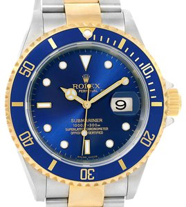 Rolex Rolex Submariner Steel Yellow Gold Blue Dial Watch 16613 Box Papers