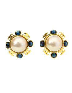 Chanel Chanel Faux Pearl and Blue Crystal Clip-On Earrings