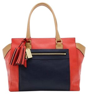 Coach Colorblock Red Satchel in Red, Blue and Tan