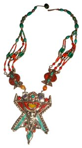 Silver Co. Western Style Tribal Turquoise, Coral, Silver Necklace