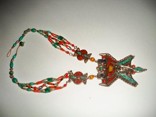 Silver Co. Western Style Tribal Turquoise, Coral, Silver Necklace Image 1