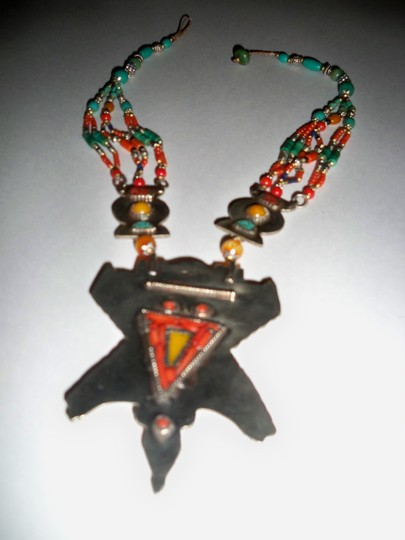 Silver Co. Western Style Tribal Turquoise, Coral, Silver Necklace Image 4