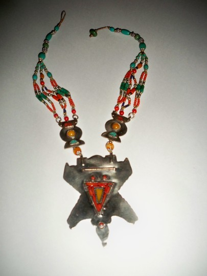 Silver Co. Western Style Tribal Turquoise, Coral, Silver Necklace Image 5