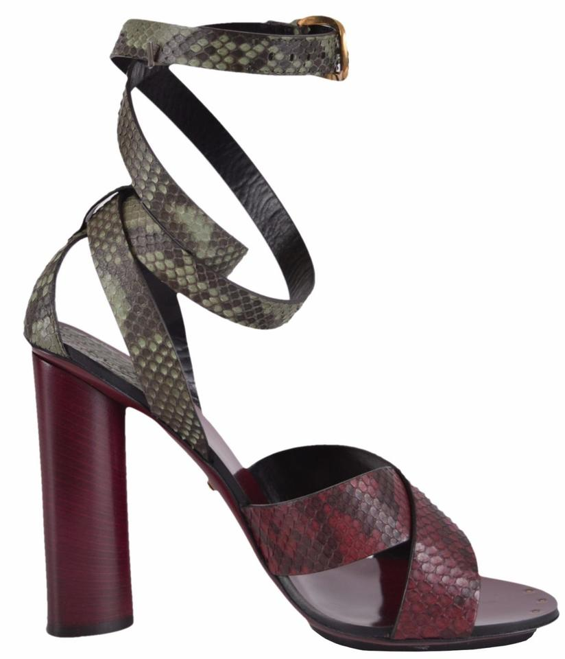 bbaf1a9b415 Gucci Multi-color Women s Python Snakeskin Stacked Heel Strappy ...
