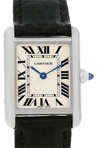 Cartier Cartier Tank Louis 18k White Gold Black Strap Ladies Watch W1541056