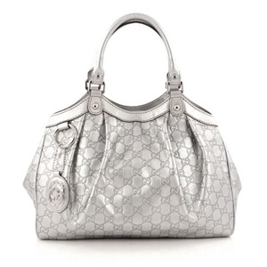 Gucci Leather Tote in Silver