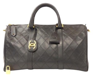 Chanel Boston Quilted Cc Logo Tote in Black