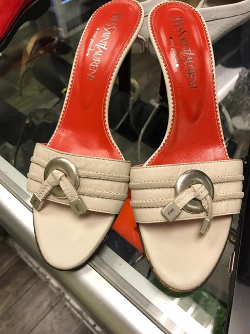 Item - Beige Bone Ivory Ysl Leather Open Toe Slides Silver Accent 37.5 Sandals Size US 7 Regular (M, B)