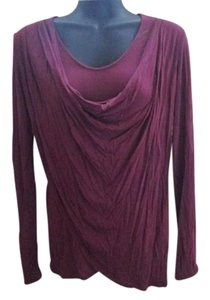 CAbi Draped Cowl Neck Knit Stretchy Winter Top Maroon