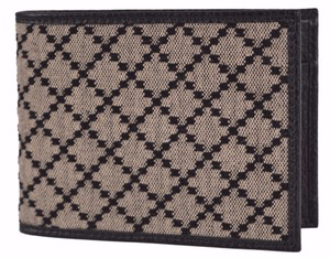 Gucci Gucci Men's 143384 Black & Beige Jacquard Diamante Bifold Coin Wallet