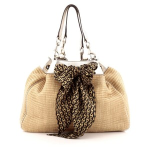 Gucci Leather&raffia Tote in Brown
