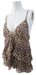 Rebecca Taylor Silk Animal Print Top Leopard Print