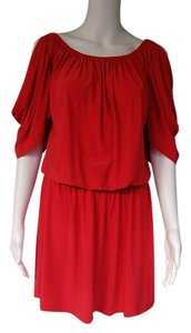 Boston Proper short dress Red Blouson Cold Shoulder on Tradesy