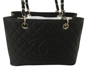 Chanel Gst Silver Hardware Caviar Leatehr New Full Set Classic Tote in BLACK
