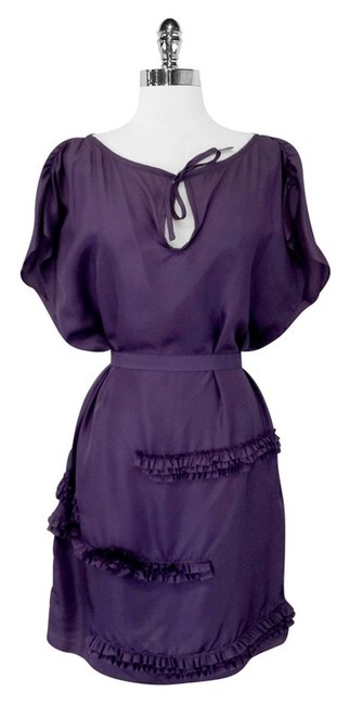 Preload https://item2.tradesy.com/images/cynthia-rowley-purple-silk-belted-shift-w-ruffle-detail-m-high-low-short-casual-dress-size-8-m-2008671-0-0.jpg?width=400&height=650