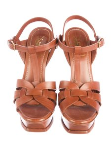 Saint Laurent Yves Ysl Tribute Ysl Sexy High Heel Tan / brown Sandals