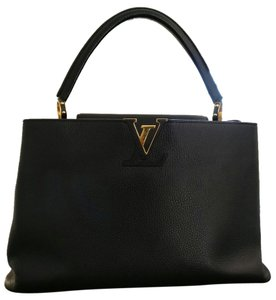 Louis Vuitton Capucines Taurillion Black Lv Tote in Noir