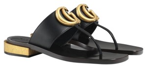 Gucci Black Leather Sandals