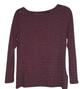 J.Crew Striped Anchors Top cranberry red
