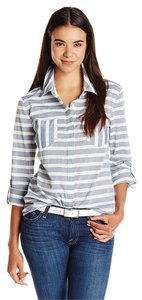 Splendid Long Sleeve Stripe Button Down Shirt Navy