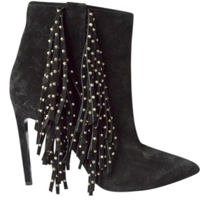 Saint Laurent Suede Fringe Ankle Black Boots