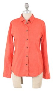 Madewell Soft Cotton Cozy Poppy Button Down Shirt Red